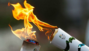 The Olympic Rings and Flames