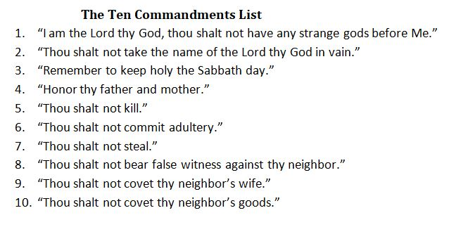 The Ten Commandments list
