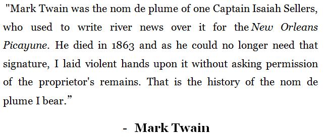 Origin of Mark Twain's pen name
